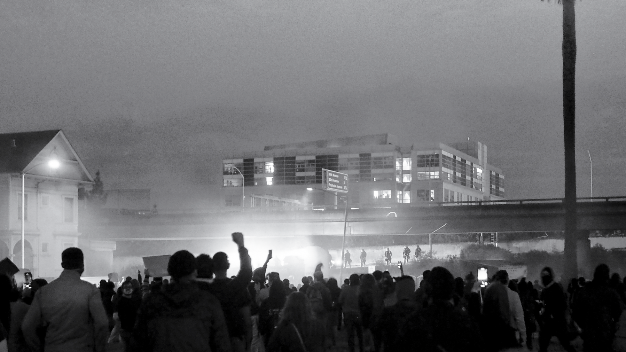 black and white photo of protests