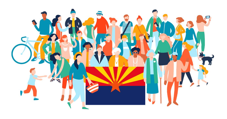 cartoon people by Arizona flag