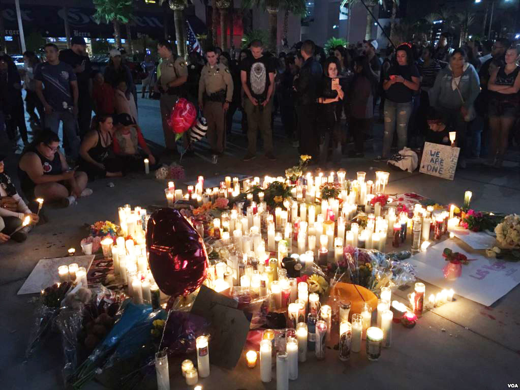 Vigil for victims of the Las Vegas Shooting on October 1, 2017.