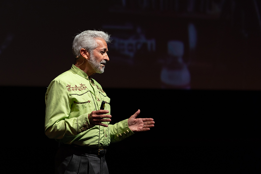 Celestino Fernandez onstage at the 2018 Downtown Lecture Series