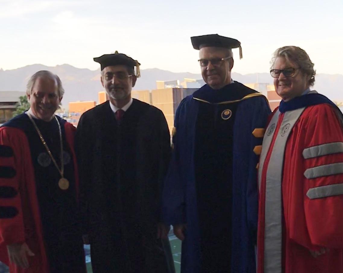 Photo of UA President Robert Robbins, Mohammed Sharaf, Eller Dean Paulo Goes, and SBS Dean J.P. Jones III