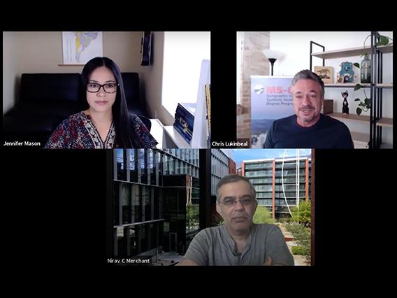 Zoom screen grab with Nirav Merchant, Chris Lukinbeal, and Jenny Mason