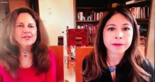 Profs. Jeannine Relly, left, and Celeste González de Bustamant