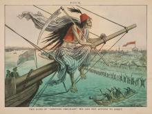 """This political cartoon is captioned, """"The kind of 'assisted emigrant' we can not afford to admit."""" Cartoon by Friedrich Graetz, published in Puck, July 18, 1883."""