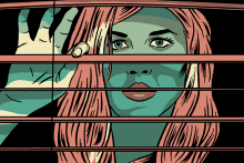 illustration of woman looking out of blinds