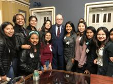 Recipients of the Study of the United States Institute for Women Leaders meet with Massachusetts Congressman Jim McGovern on Feb.12, 2020, in Washington D.C.