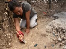 Melina Garcia excavating part of the Aguada Fenix site.
