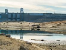 low water drought conditions at Folsom Dam and Lake