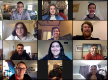 The University of Arizona Wildcat's editorial board in a Zoom call