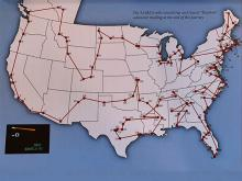 U.S. map with travel points on it.