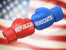 Republican and Democrat boxing gloves