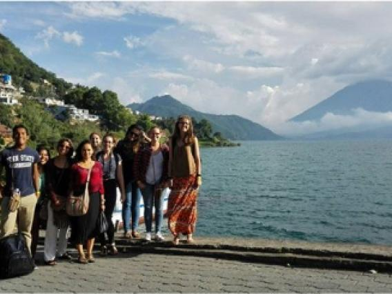 Study abroad students at lake in Guatemala