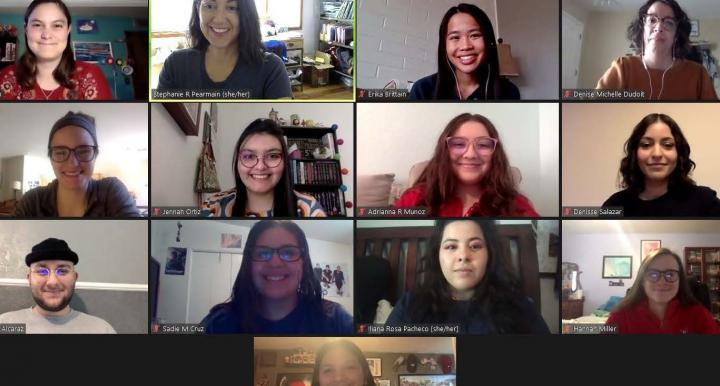 Some of the students in 389Literary connect over Zoom in spring 2021.