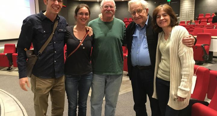 photo of students with noam chomsky