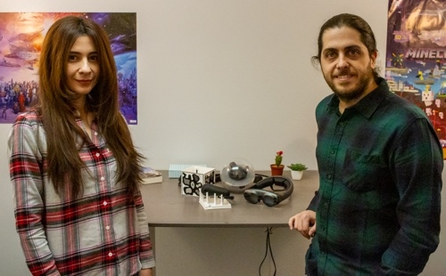 Lila and Ren Bozgeyikli direct the Extended Reality and Games Lab in the School of Information. (Photo: Kyle Mittan/University Communications)